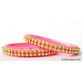 Rose Colour Silk Thread Bangles-2 Set