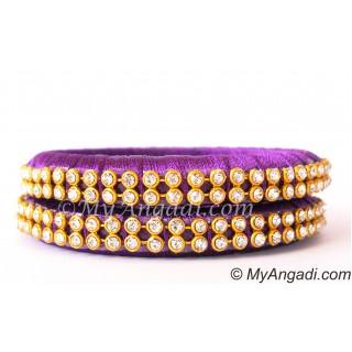 Violet Colour Silk Thread Bangles-2 Set
