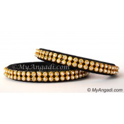 Black Colour Silk Thread Bangles-2 Set