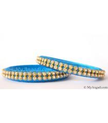 Blue Colour Silk Thread Bangles-2 Set
