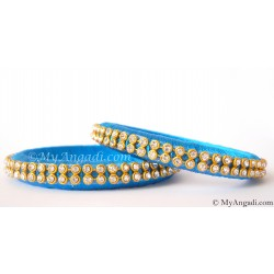 Blue Colour Silk Thread Bangles-2 Set