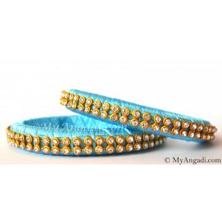 Turquoise Blue Colour Silk Thread Bangles-2 Set