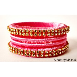 Rose Colour Silk Thread Bangles-4 Set