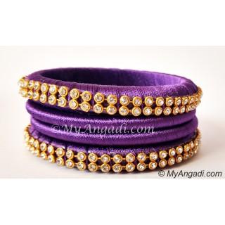 Violet Colour Silk Thread Bangles-4 Set