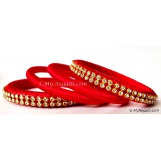 Red Colour Silk Thread Bangles-4 Set