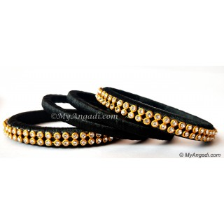 Black Colour Silk Thread Bangles-4 Set