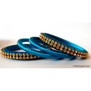 Blue Colour Silk Thread Bangles-4 Set