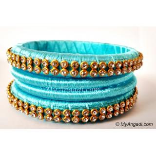 Turquoise Blue Colour Silk Thread Bangles-4 Set
