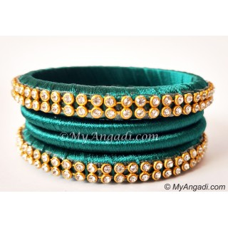 Teal Green Colour Silk Thread Bangles-4 Set