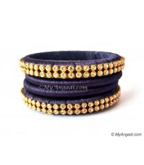 Dark Blue Colour Silk Thread Bangles-4 Set