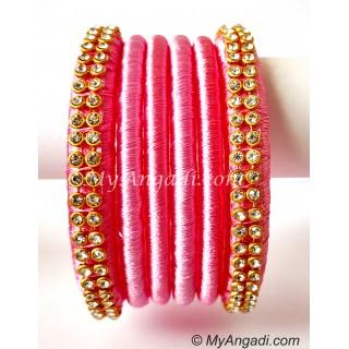 Rose Colour Silk Thread Bangles-6 Set
