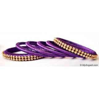 Violet Colour Silk Thread Bangles-6 Set