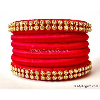 Red Colour Silk Thread Bangles-6 Set