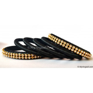 Black Colour Silk Thread Bangles-6 Set