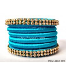 Blue Colour Silk Thread Bangles-6 Set