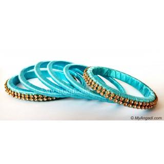 Turquoise Blue Colour Silk Thread Bangles-6 Set