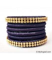 Dark Blue Colour Silk Thread Bangles-6 Set