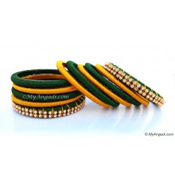 Dark Green Silk Thread Bangles-11 Set