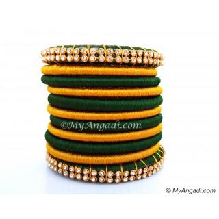 Dark Green Silk Thread Bangles-11 Set