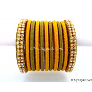 Olive Green Colour Silk Thread Bangles-11 Set