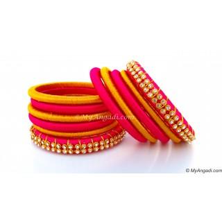 Pink Silk Thread Bangles-11 Set