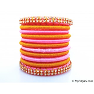 Rose Colour Silk Thread Bangles-11 Set
