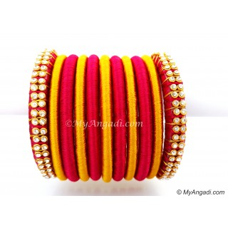 Magenta Colour Silk Thread Bangles-11 Set