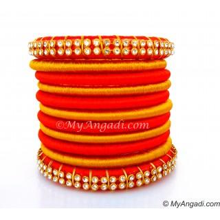 Orange Colour Silk Thread Bangles-11 Set