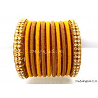 Kakki Colour Silk Thread Bangles-11 Set