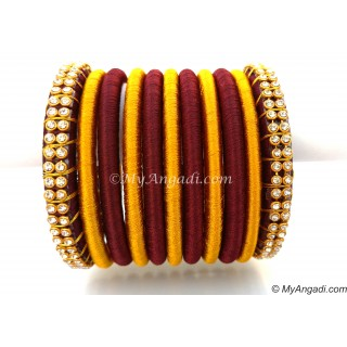 Maroon Colour Silk Thread Bangles-11 Set