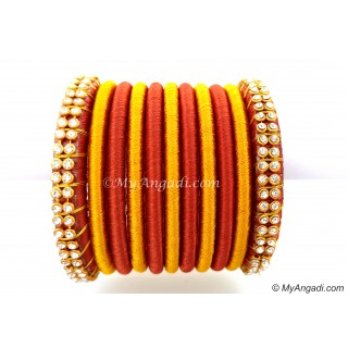 Brick Red Colour Silk Thread Bangles-11 Set