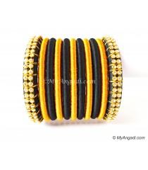 Black Colour Silk Thread Bangles-11 Set