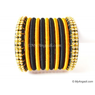 Black Colour Silk Thread Bangles-11 Set