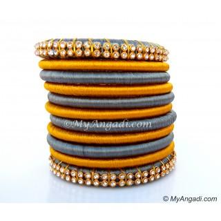 Grey Colour Silk Thread Bangles-11 Set