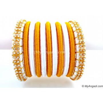 White  Silk Thread Bangles-11 Set