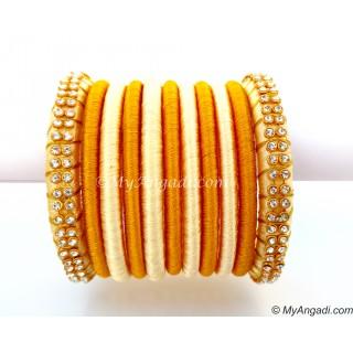 Ivory Colour Silk Thread Bangles-11 Set