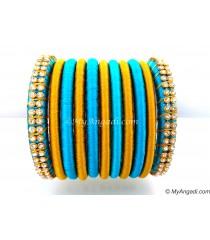 Blue Colour Silk Thread Bangles-11 Set