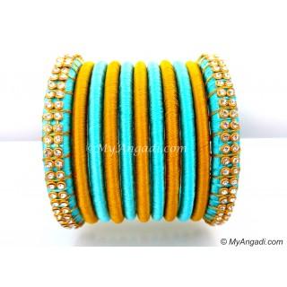Turquoise Blue Colour Silk Thread Bangles-11 Set