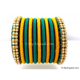 Teal Green Colour Silk Thread Bangles-11 Set