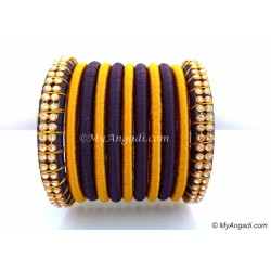 Dark Blue Colour Silk Thread Bangles-11 Set