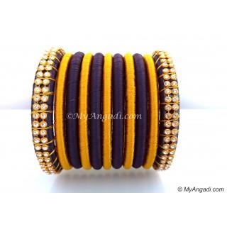 Dark Blue Colour Silk Thread Bangles-11 Set