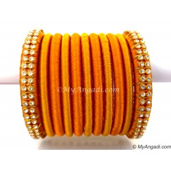 Golden Colour Silk Thread Bangles-11 Set