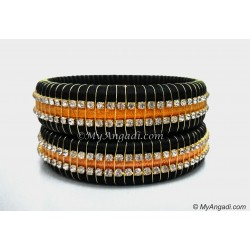Black Colour Silk Thread Bangles-Triple Set