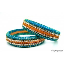 Blue Colour Silk Thread Bangles-Triple Set