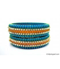 Blue Colour Silk Thread Bangles-Triple Set