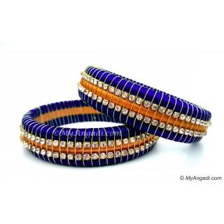 Royal Blue Colour Silk Thread Bangles-Triple Set