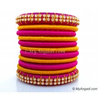 Purple Silk Thread Bangles-11 Set