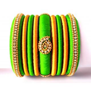Lime Green Grand Wedding Silk Thread Bangle Set with Jhumka Earrings