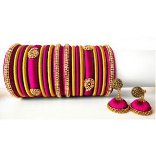 Pink Grand Wedding Silk Thread Bangle Set with Jhumka Earrings
