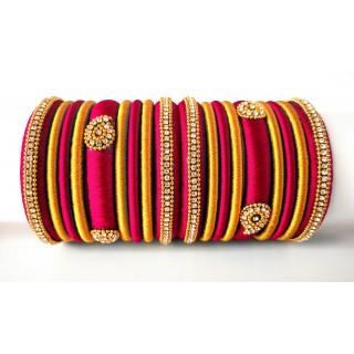 Magenta Grand Wedding Silk Thread Bangle Set with Jhumka Earrings